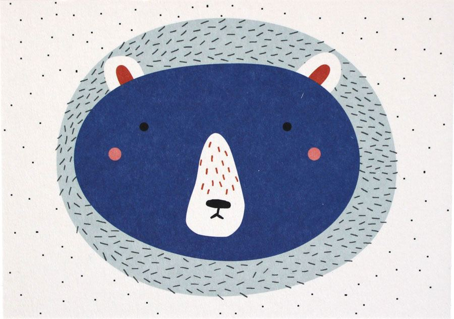 Bär Blau Postkarte