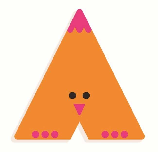 Tierbuchstabe A Orange