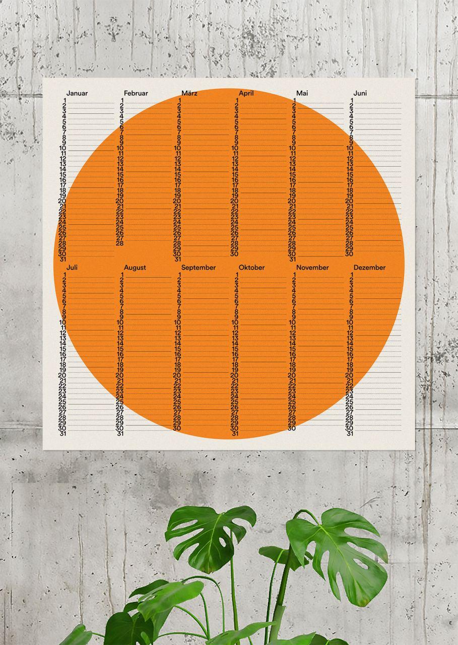 2021 Wandkalender Kreis Orange (50 x 50 cm)