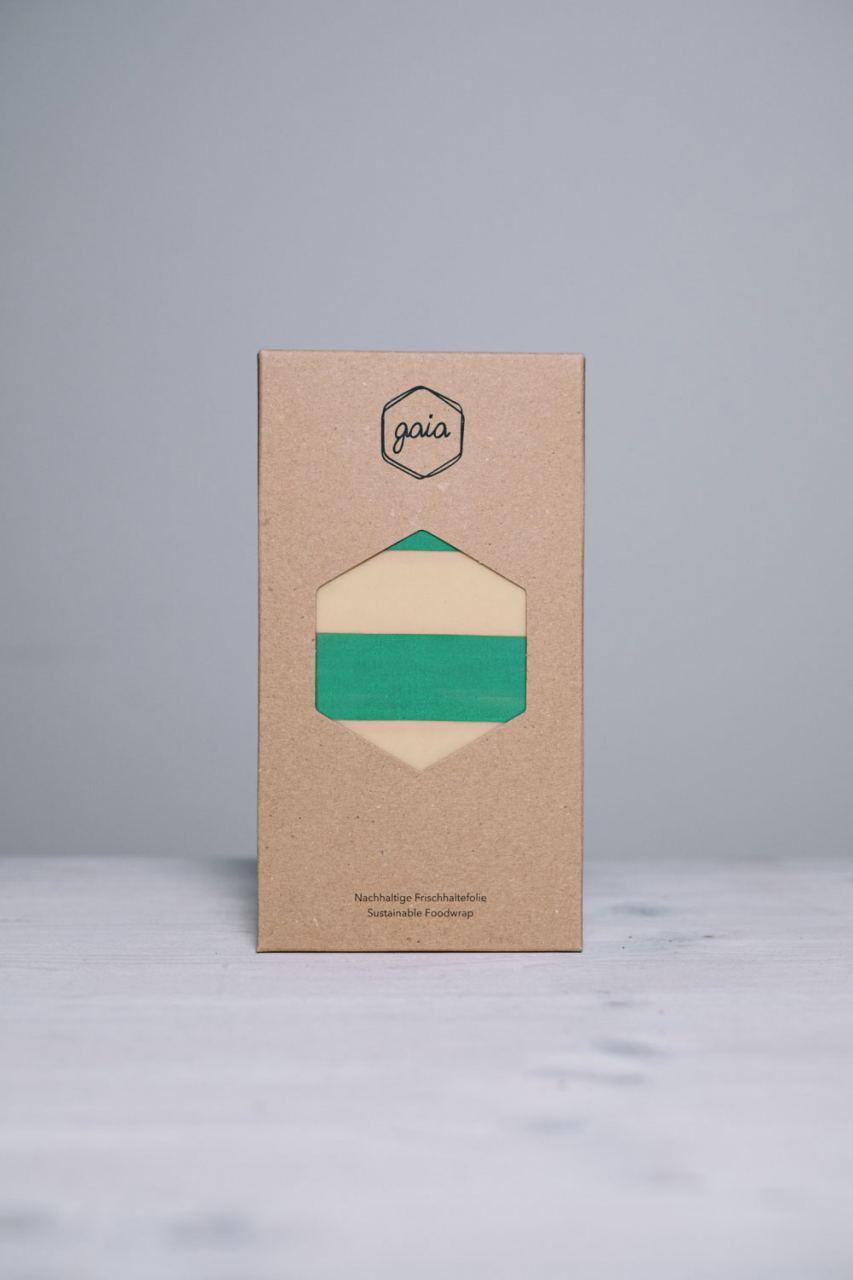 Gaia Bienenwachstuch Starter-Set (S/M/L) - Green Stripes