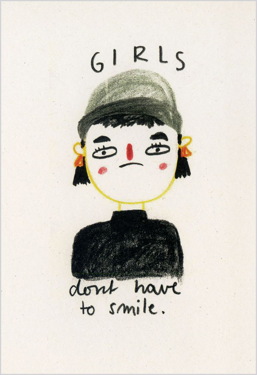 Girls dont have to smile Postkarte
