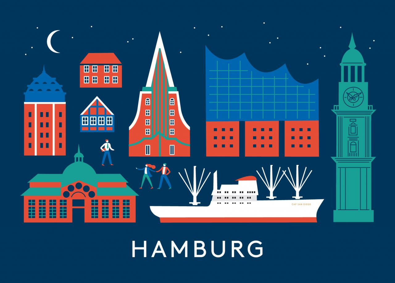 Rund um Hamburg Postkarte