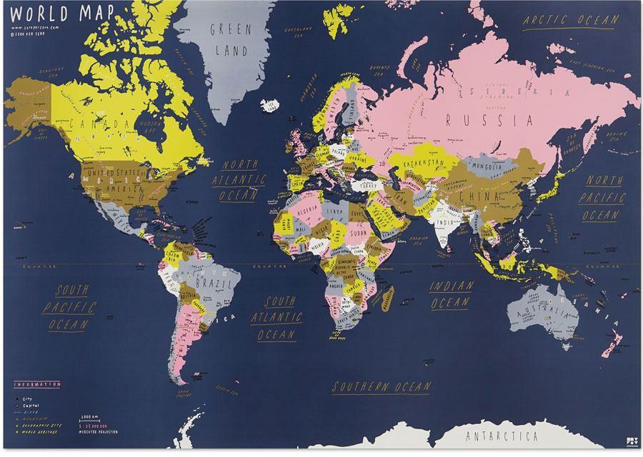 World Map Navy - Zero Per Zero | Human Empire Shop