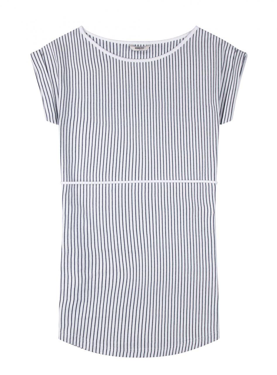 Kano Striped Kleid White Navy Blue