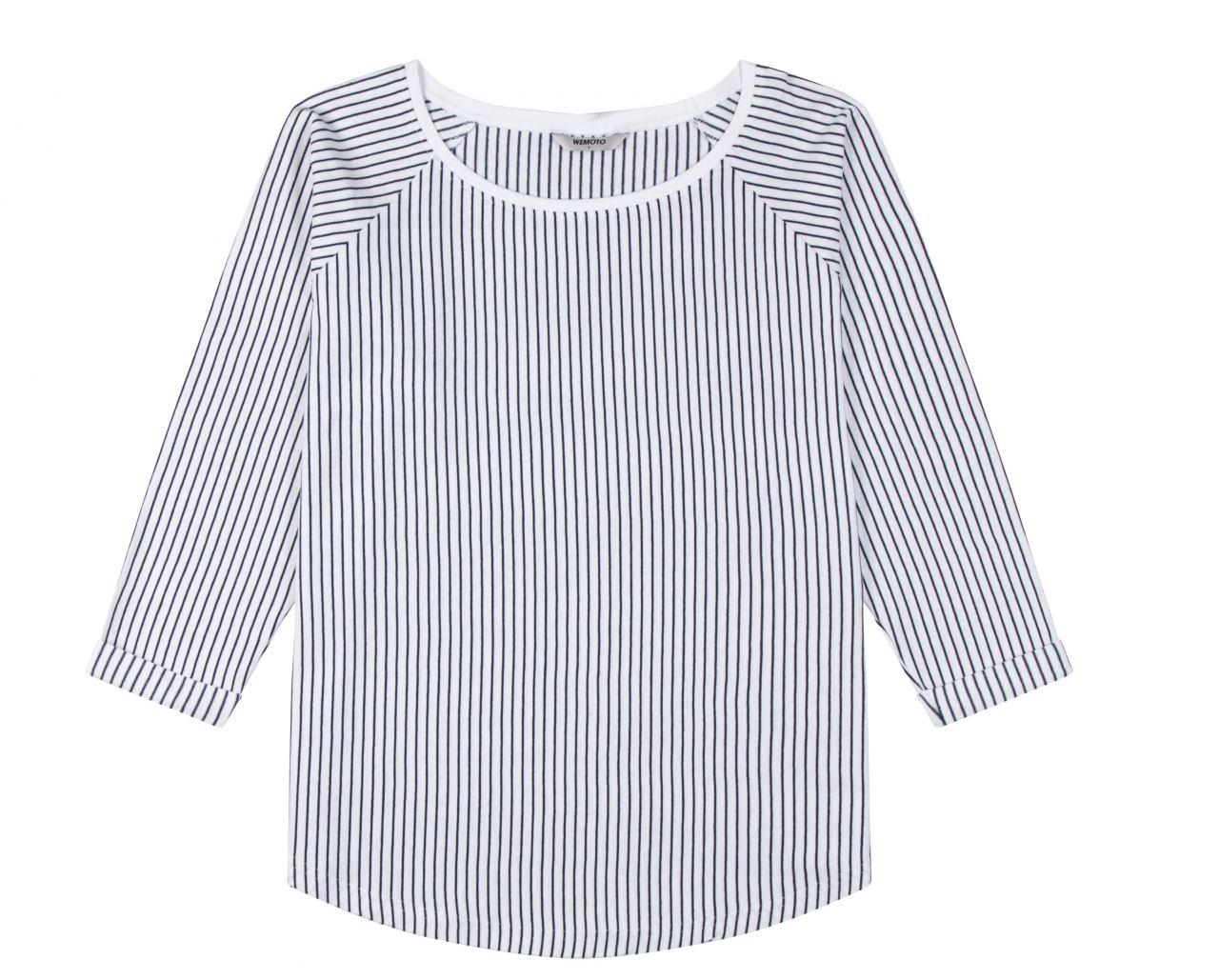 Shane Striped Shirt White Navy Blue
