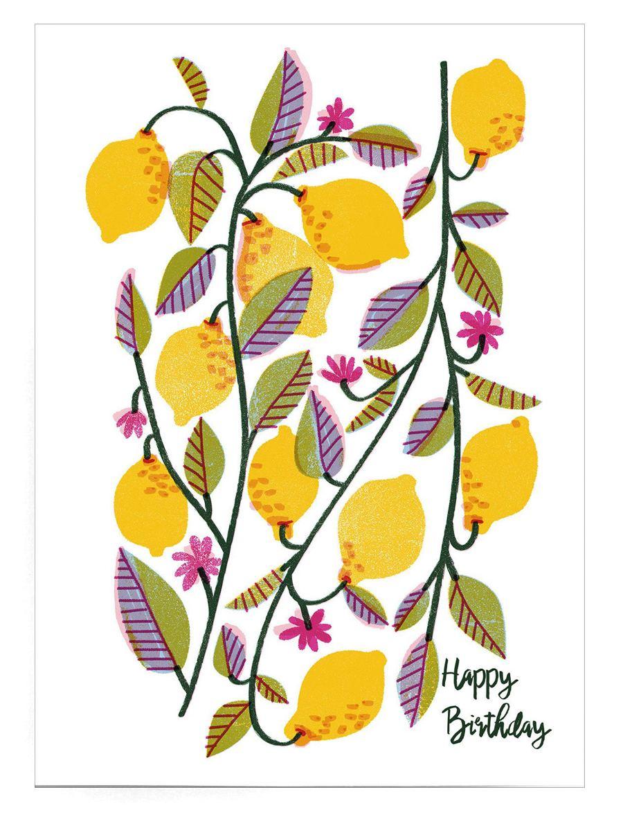 Birthday Lemons Postkarte