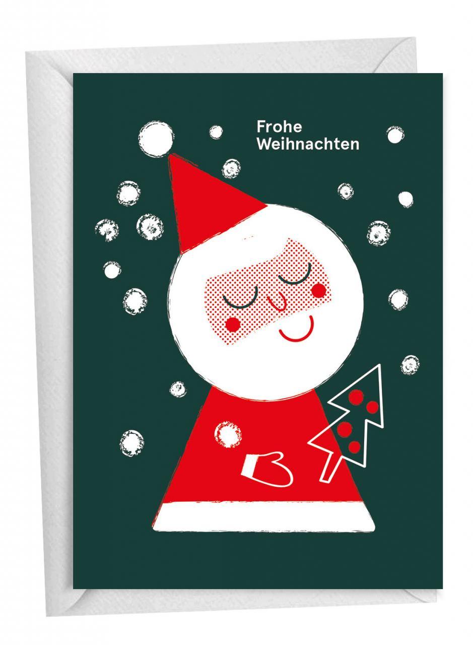 Weihnachtsmann & Baum Klappkarte