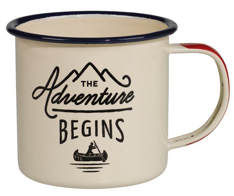 Emaillebecher The Adventure Begins Cream