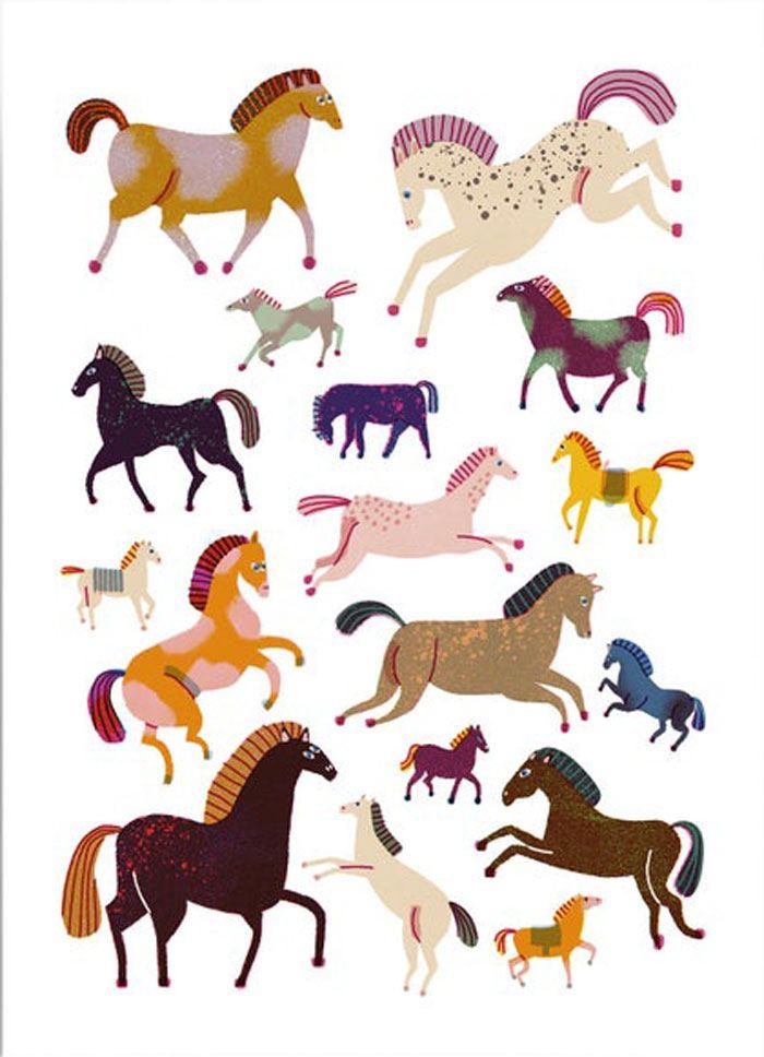 Horses Postkarte