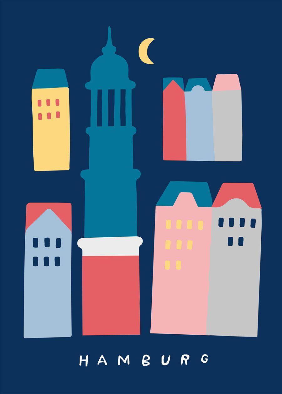 Hamburg Michel & Häuser Postkarte