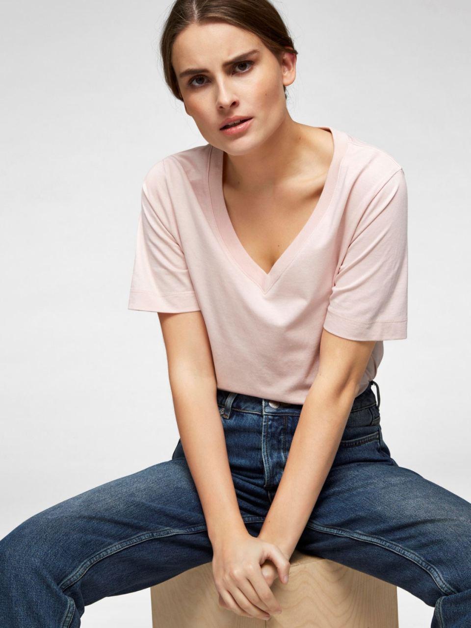 SLFStandard T-Shirt V-Neck Sepia Rose
