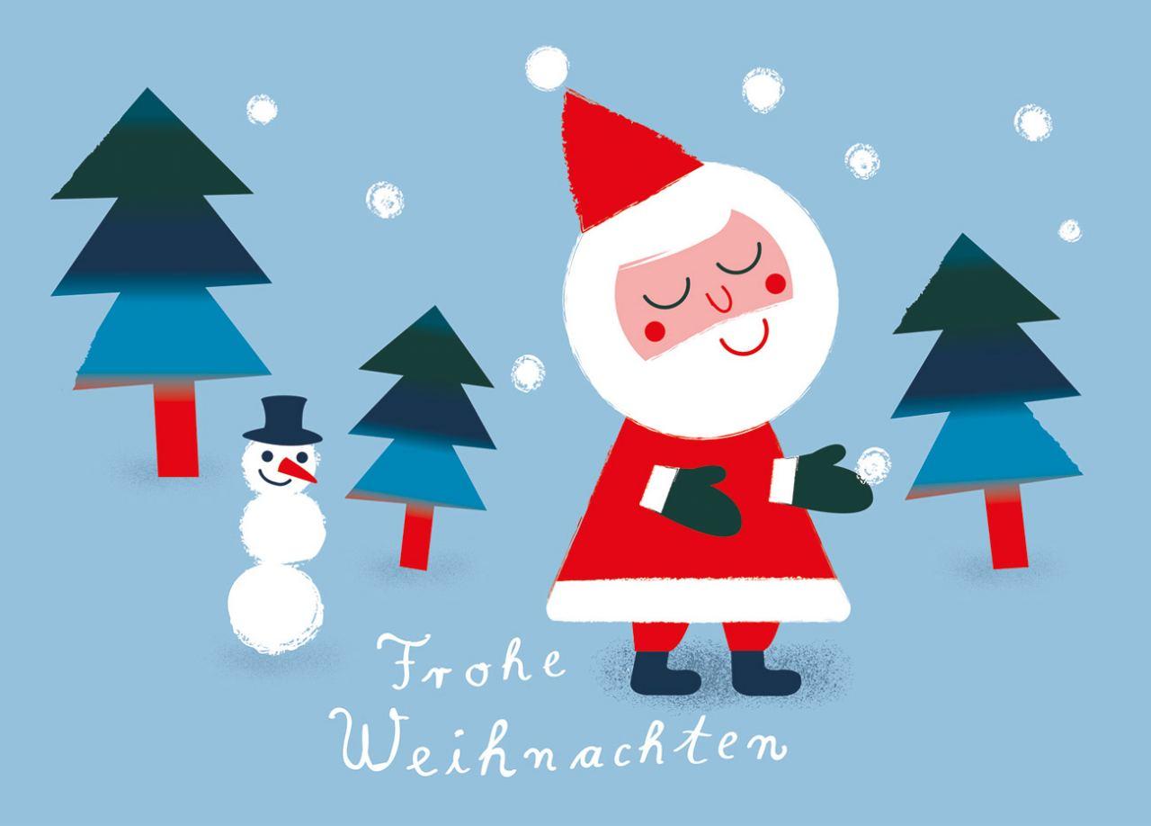 Weihnachtsmann & Schneemann Hellblau Postkarte