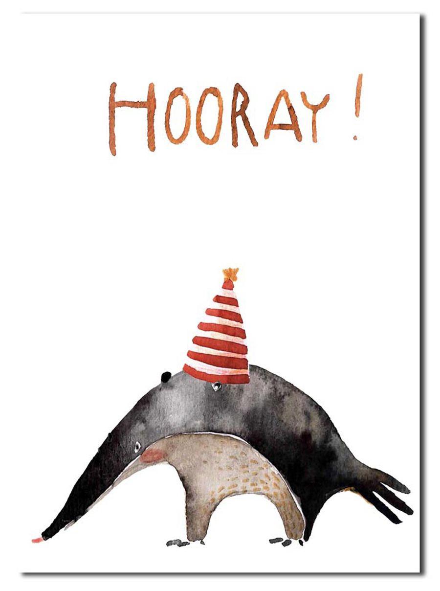 Hooray Ameisenbär Postkarte