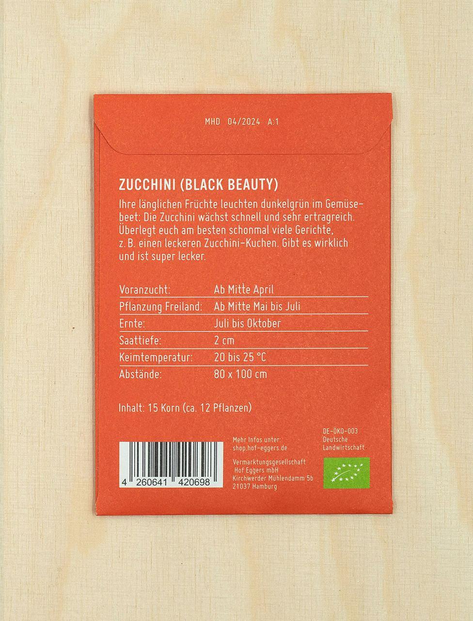 Zucchini Black Beauty, Bio-Saatgut