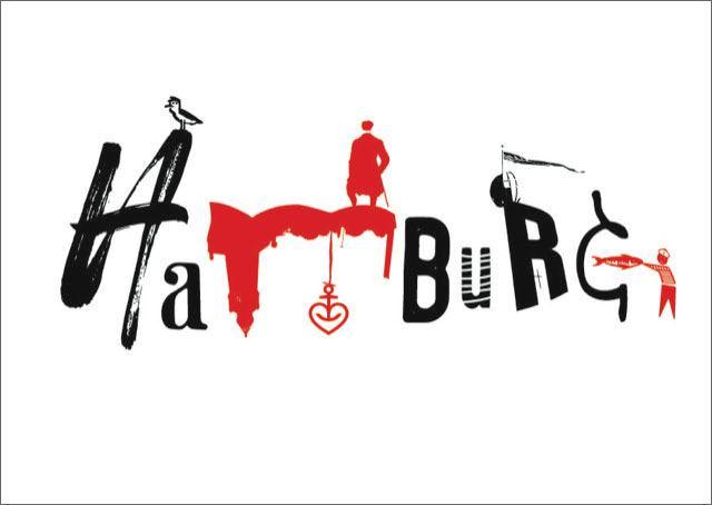 Hamburg Postkarte Rot Schwarz