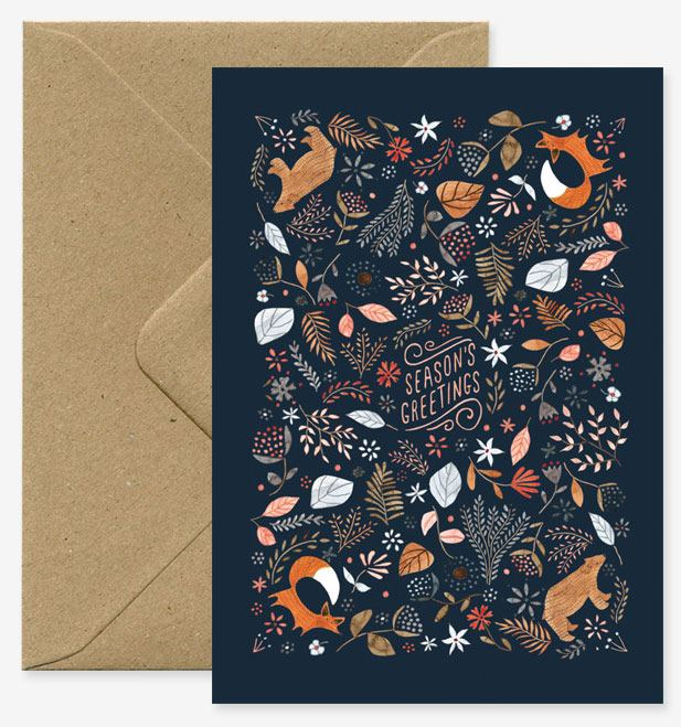 Season greetings - Fox & Bears Klappkarte
