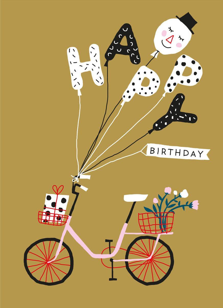 Happy Birthday Bicycle Postkarte