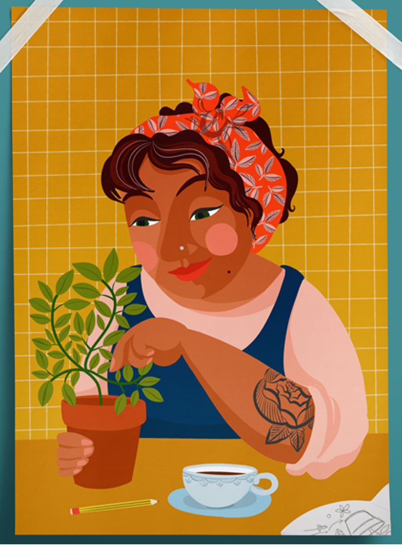 Gardening Girl Poster (A4)