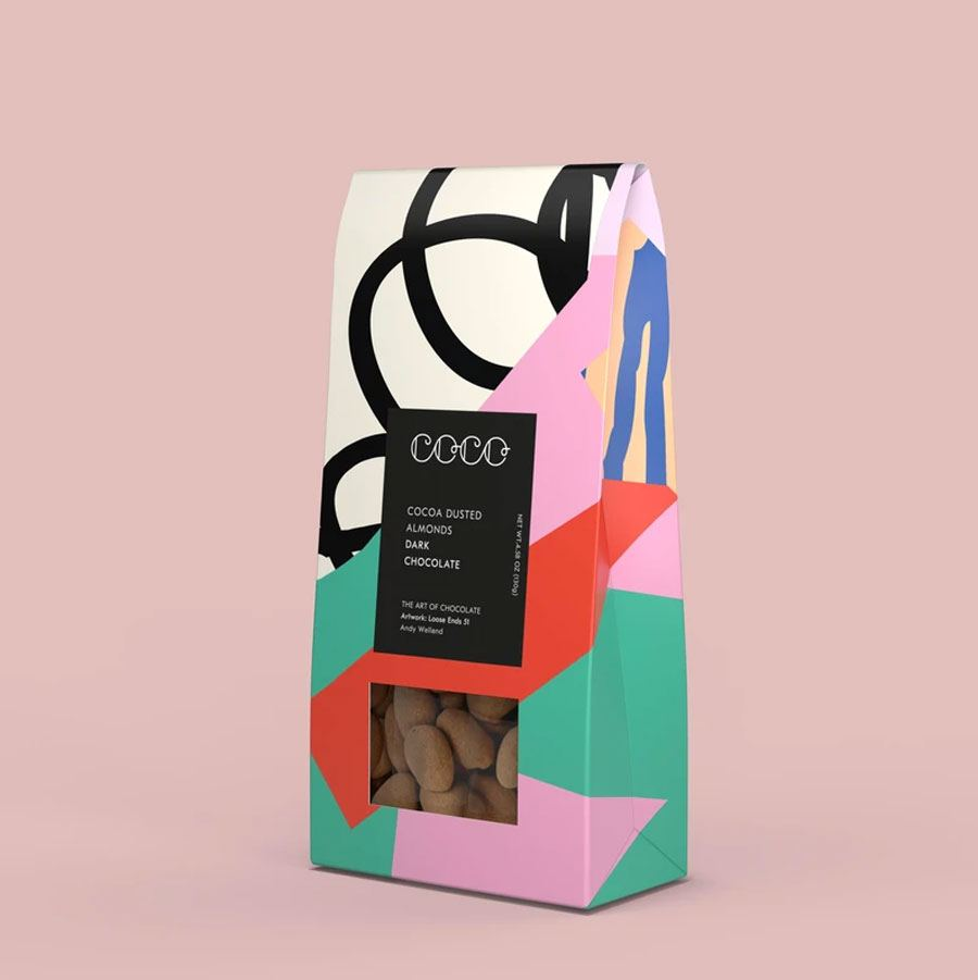 Schokolierte Mandeln in Kakao