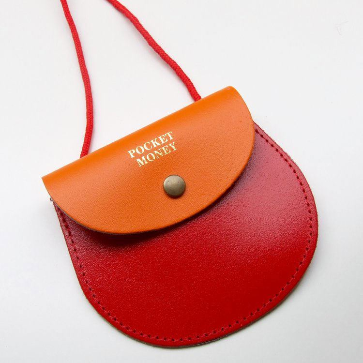Two Tone Pocket Money Purse Orange / Red