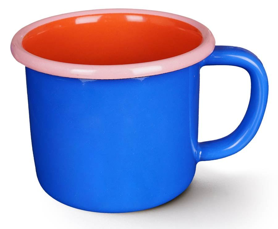 Colorama Mug Electric Blue and Coral w/ Soft Pink Rim