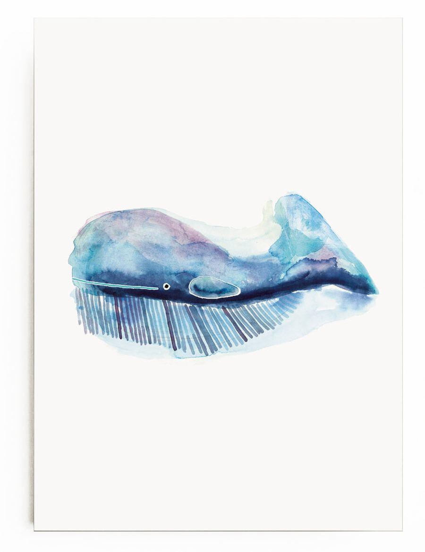Poster Blauer Wal (Din A4)
