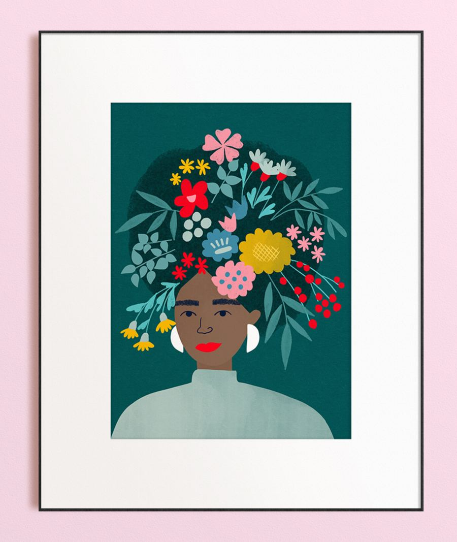 Lady with Wildflowers Print (Din A3)