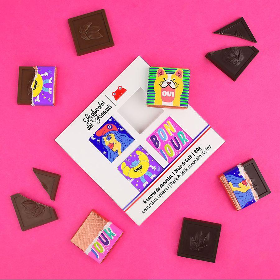 4 Täfelchen Bio-Schokolade in Geschenkverpackung