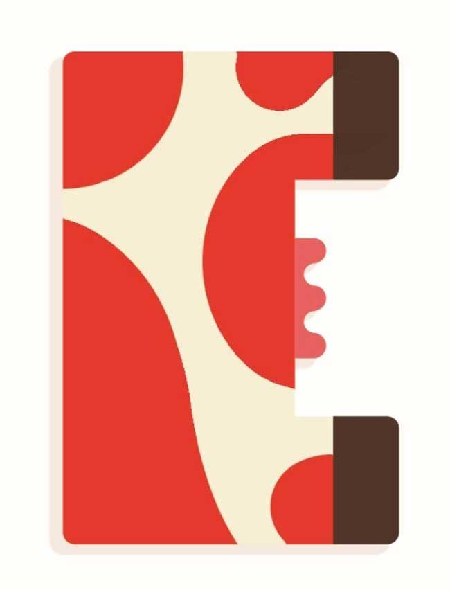 Tierbuchstabe E Rot