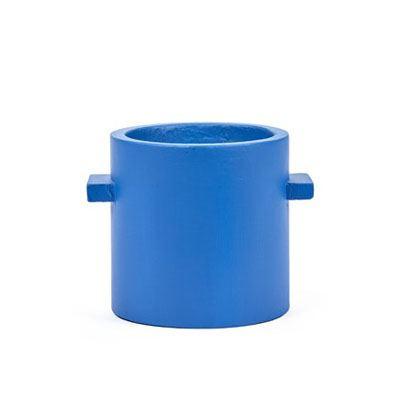Runder Übertopf Beton Blau M