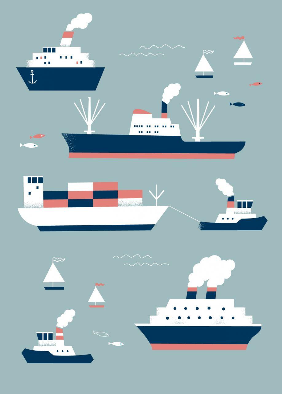Schiffe Hellgrau Postkarte