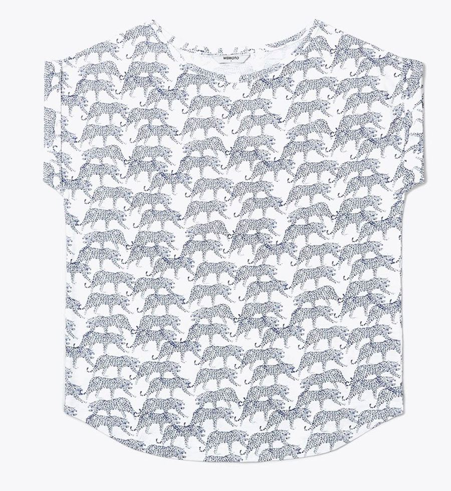 Holly Printed Shirt Off White Navy Blue