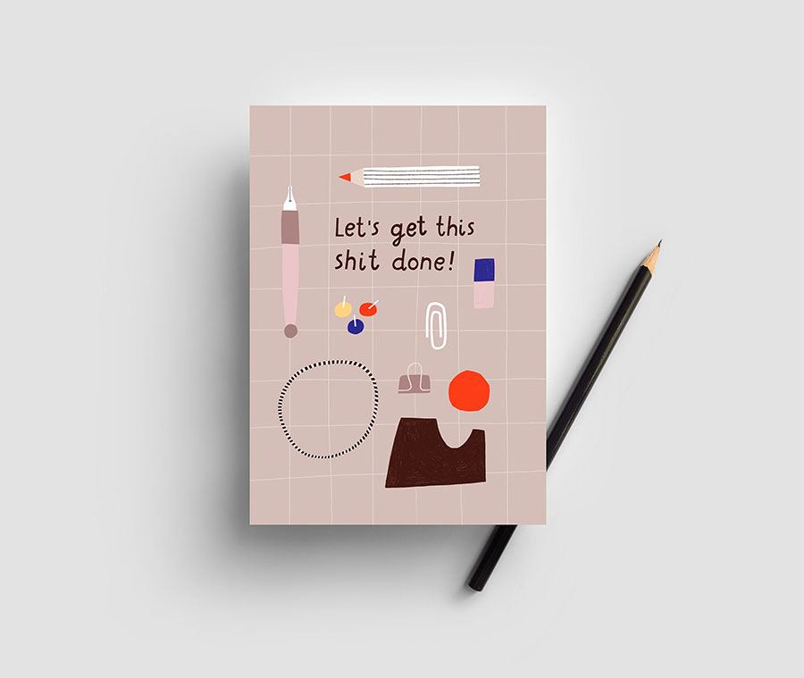 Let's get shit done Postkarte