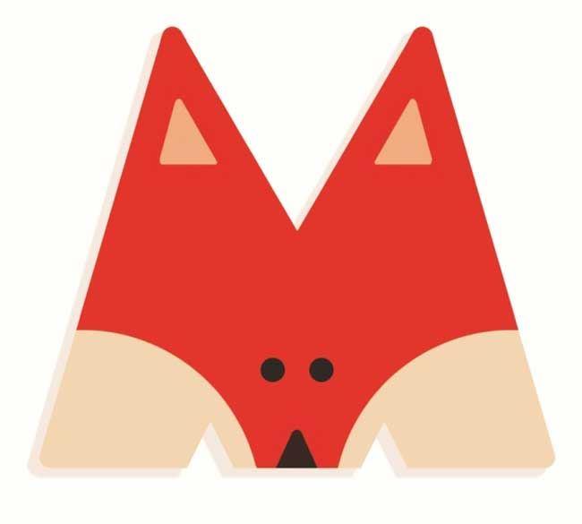 Tierbuchstabe M Rot