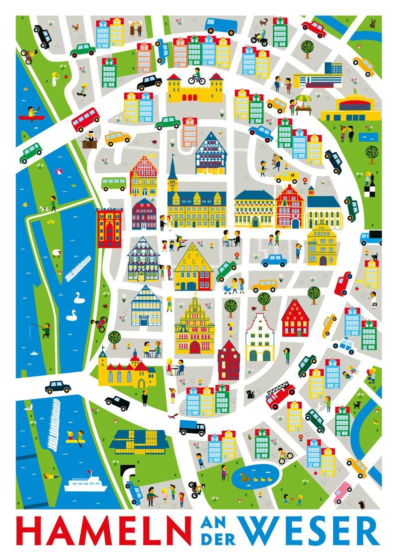 Hameln an der Weser Stadtplan Postkarte