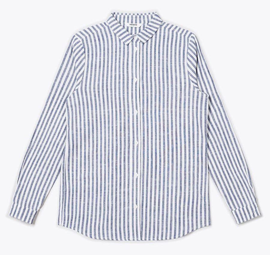 Cait Bluse Navy Blue White
