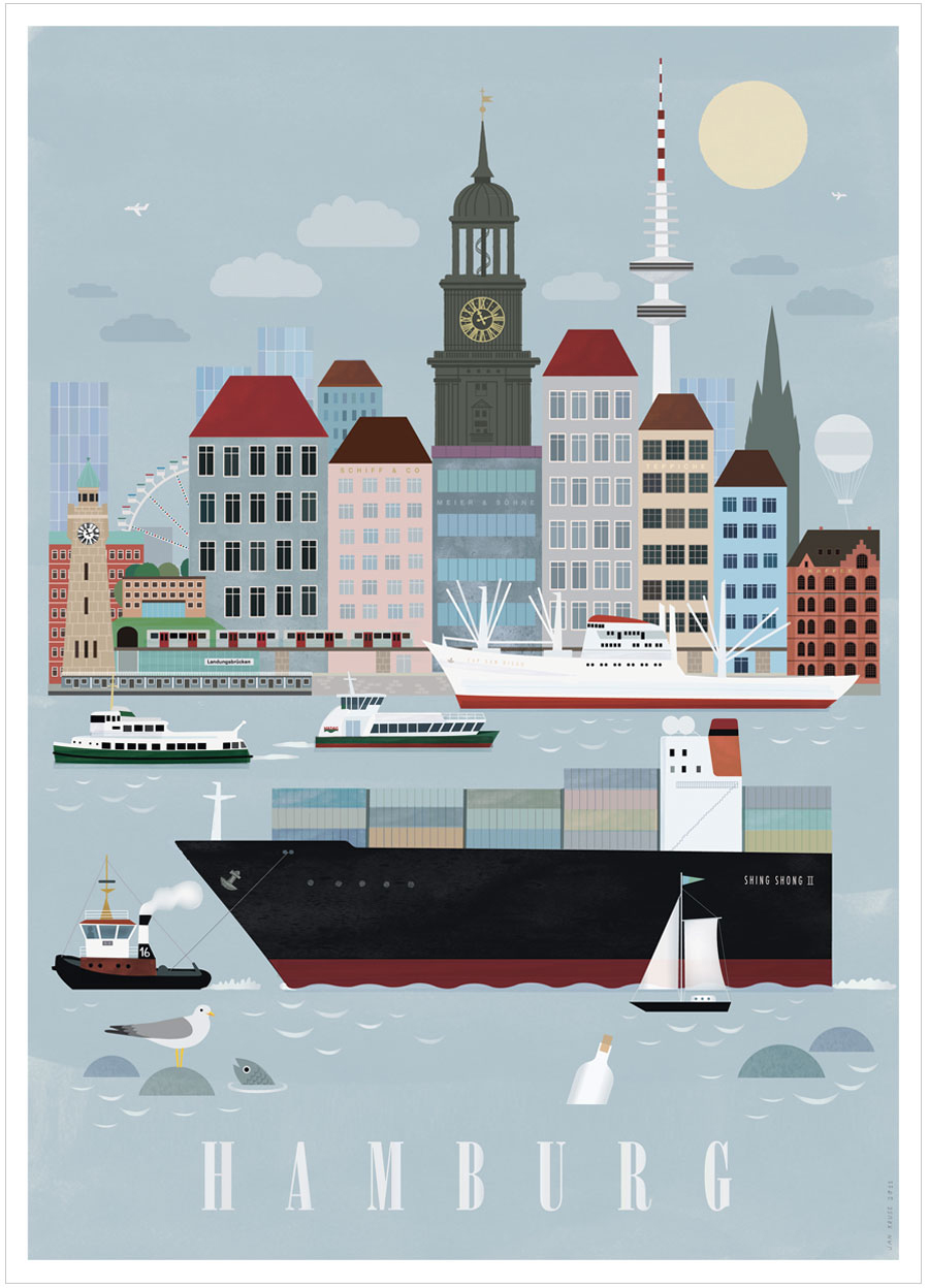 hamburg city poster 50x70cm human empire shop. Black Bedroom Furniture Sets. Home Design Ideas