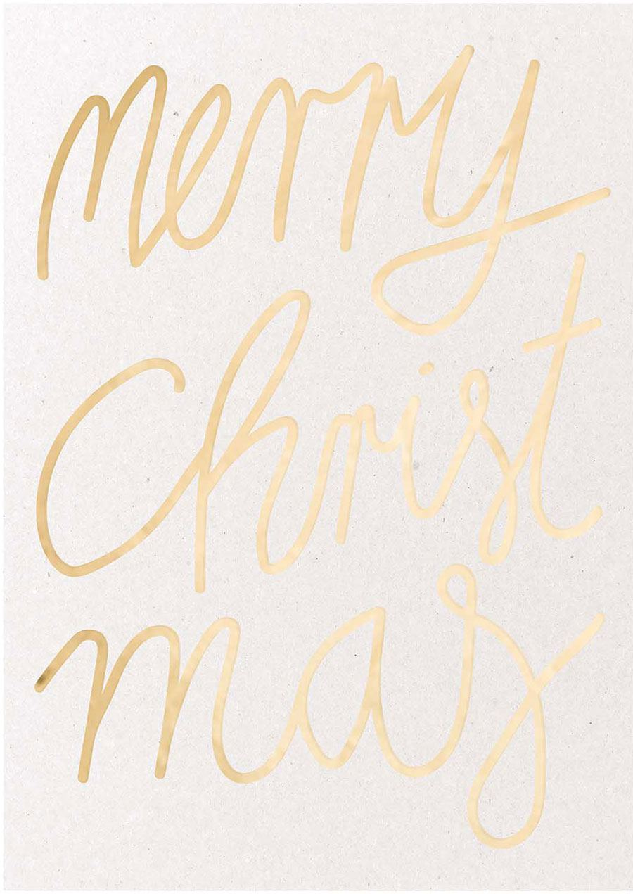 Postkarte Merry Christmas Gold