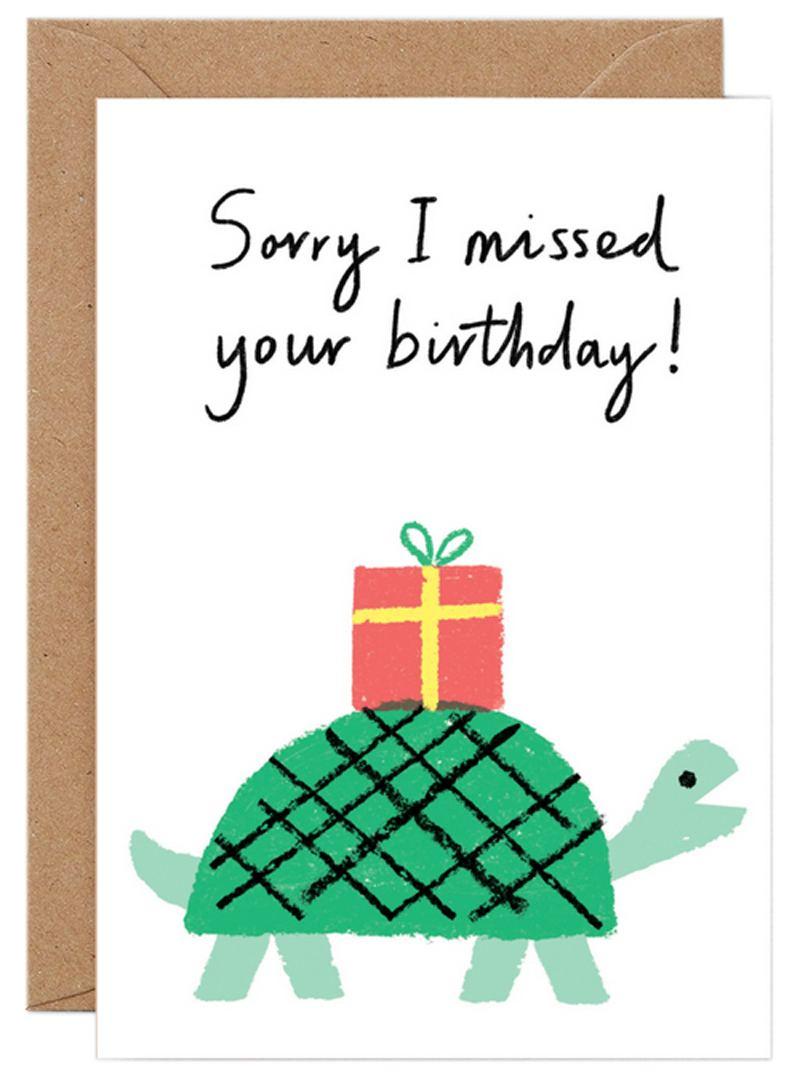 Sorry I Missed Tortoise Klappkarte