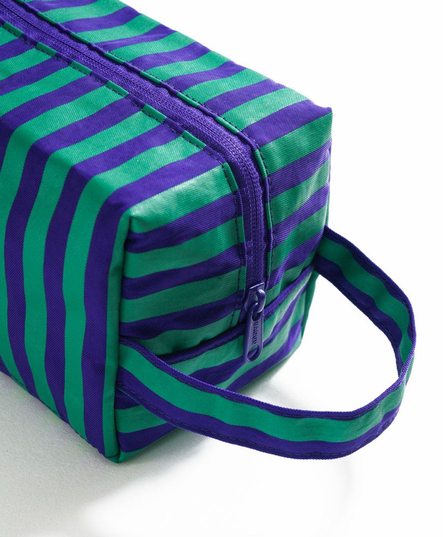 Dopp Kit Cobalt and Jade Stripe