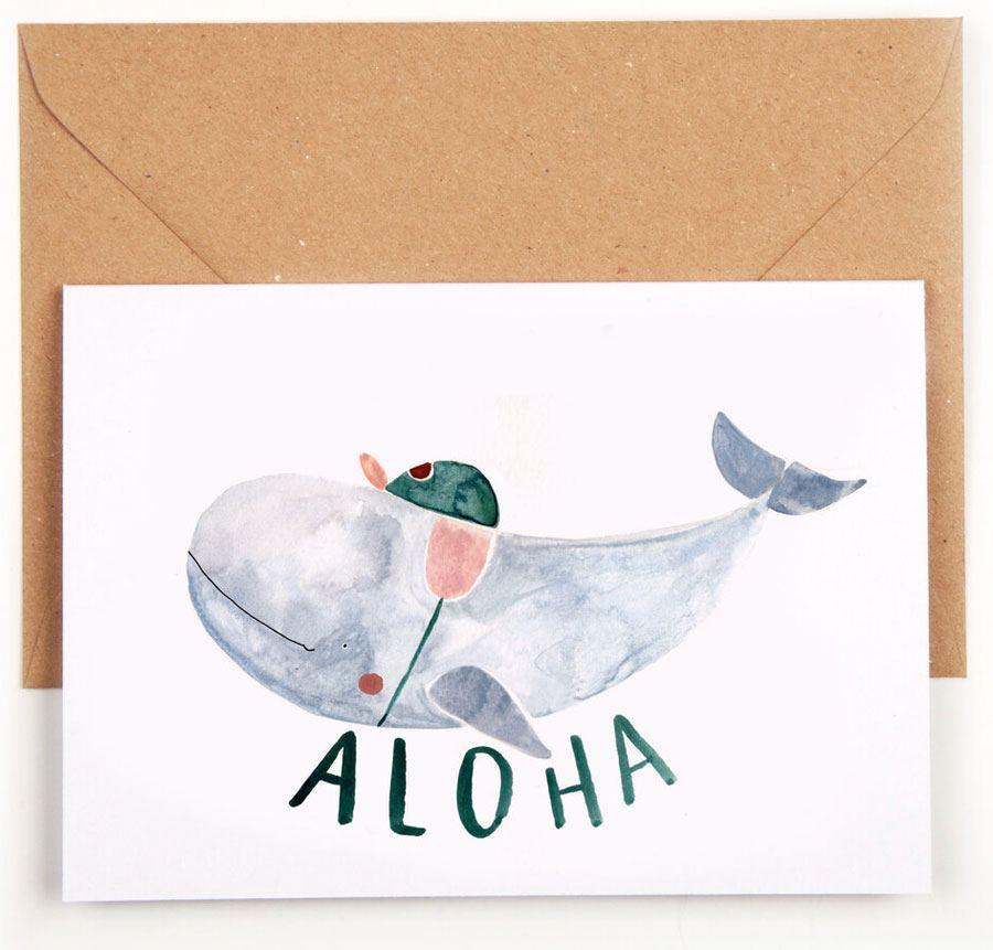 Aloha Baby Wal Klappkarte