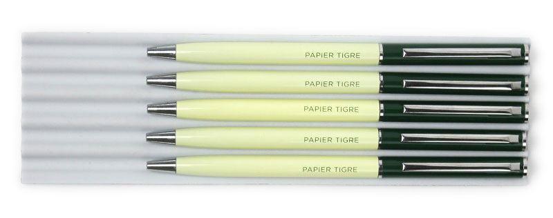Papier Tigre Kugelschreiber Grün Gelb