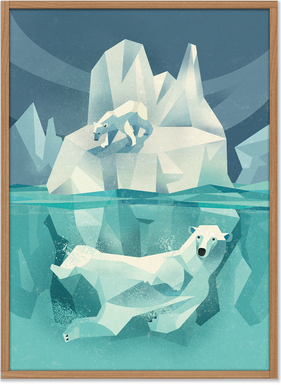 Swimming Polar Bear Poster (50 x 70 cm)