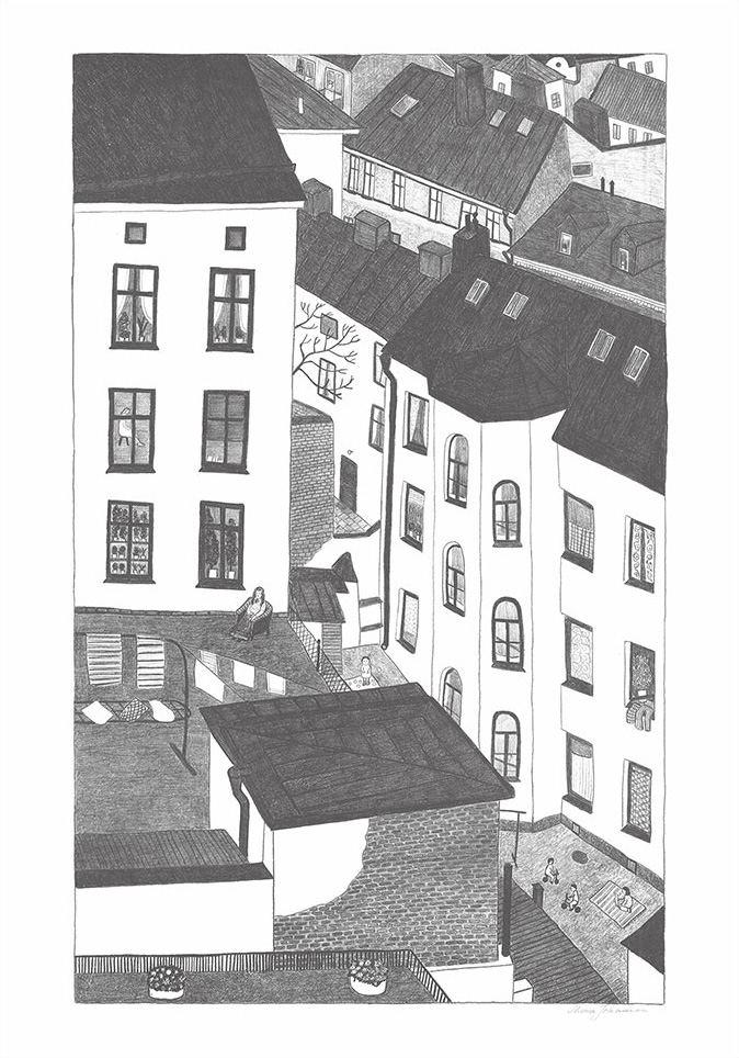 Gårdsutsikten Poster (70x100cm)
