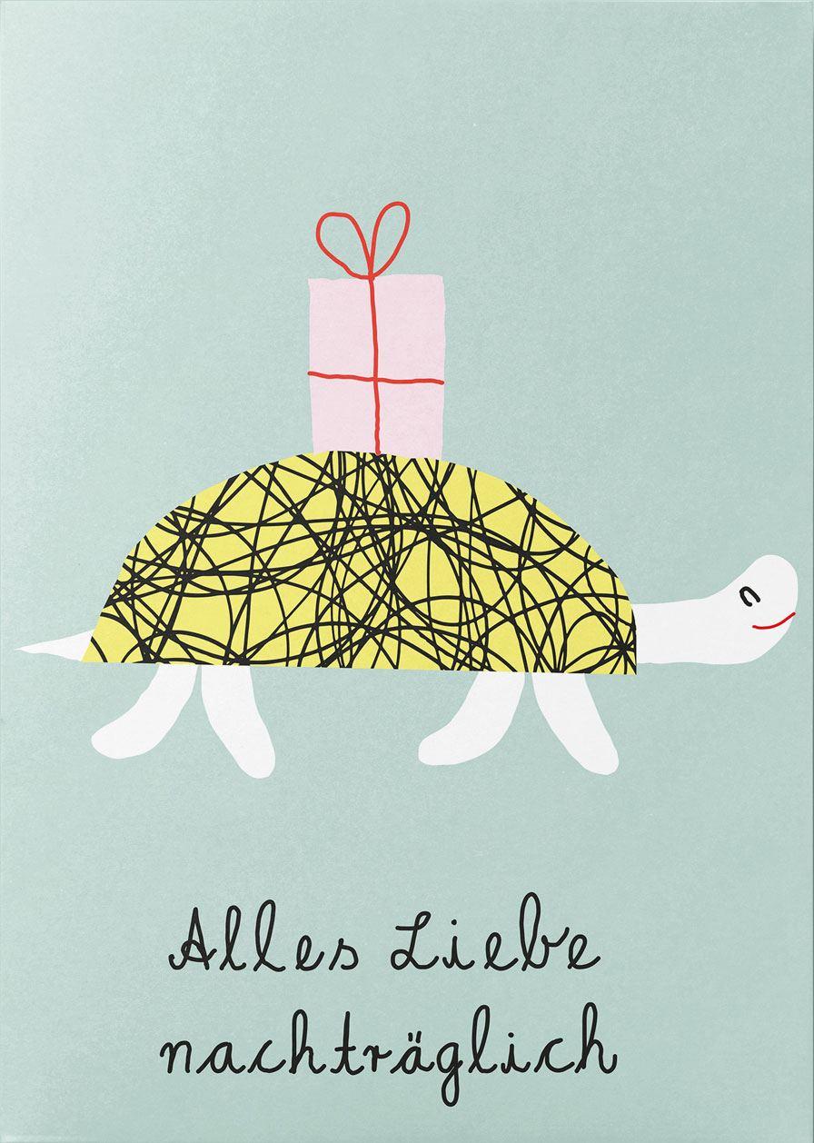 Alles Liebe nachträglich Schildkröte Postkarte