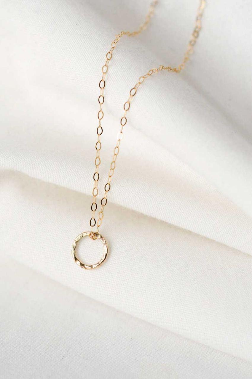 Gold Textured Circle Kette 45cm