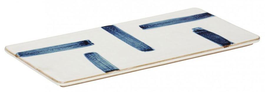 Porzellanbrett Weiß Blau