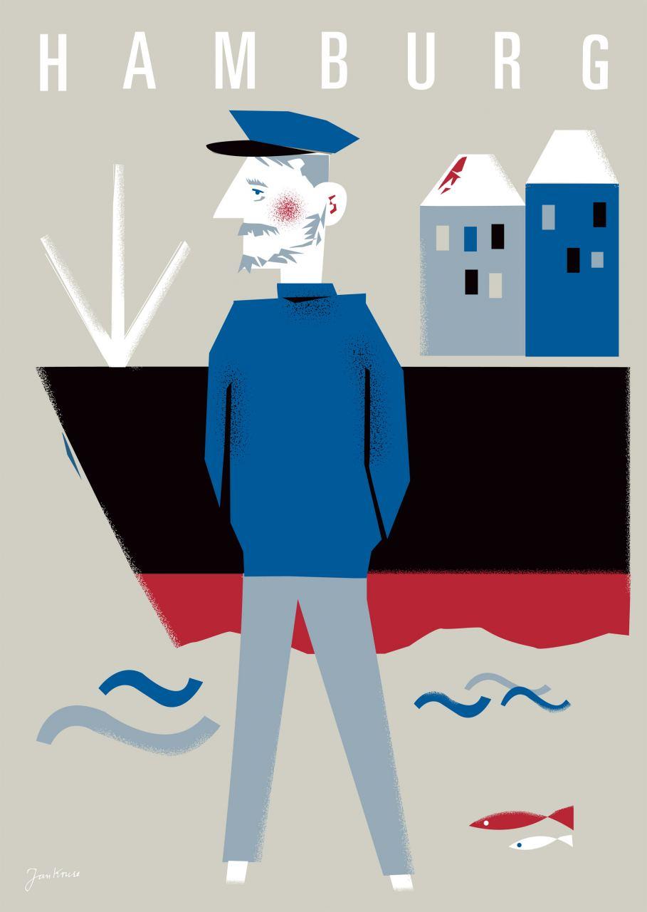 Hamburg Seebär Sand Postkarte