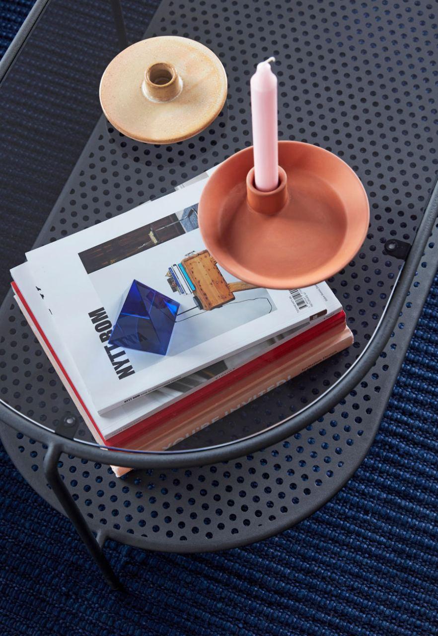 Kerzenhalter Porzellan Terrakotta Flach