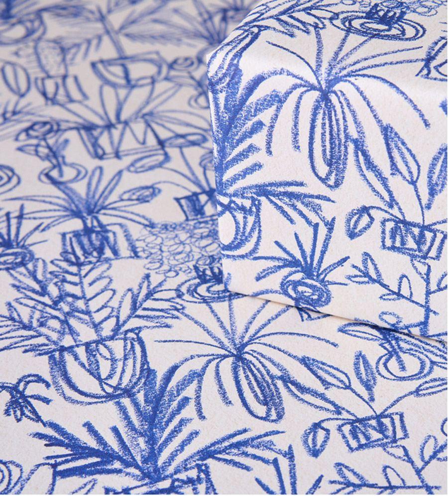 Plants Blue Geschenkpapier